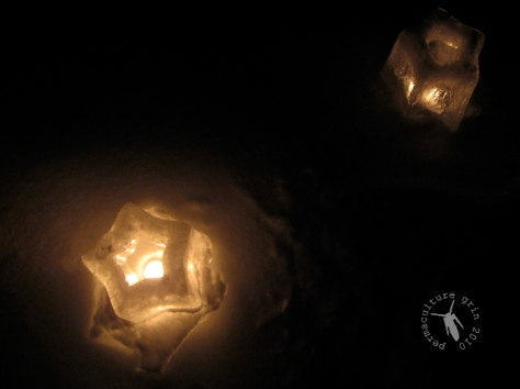 Ice lanterns from last year's Xmas (molds available at Lee Valley Tools)