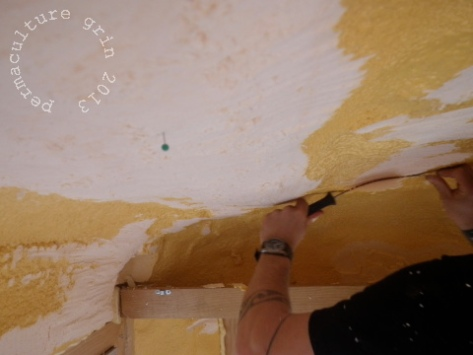 *Oh! Crucial advice- we were using dressmaker's pins at all times, constantly checking our depth to make sure we never got too thin on the insulation.  We kept it a consistent incn and a quarter to inch and a half deep.