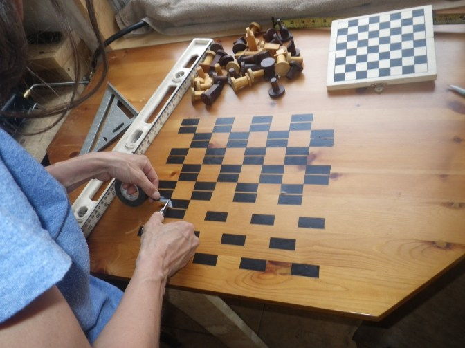 Electrical tape chessboard