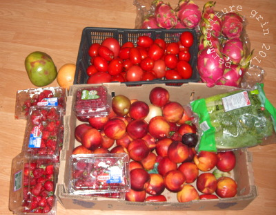 A modest night's haul of fruit (packages opened for display)