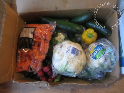 "A typical box of ""culls""- flawed veggies picked out of the displays"